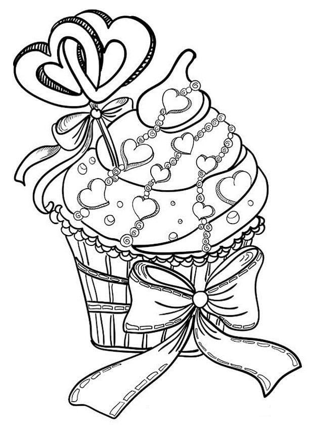 Online coloring pages Coloring page Muffins and fruit sweets ... | 840x623