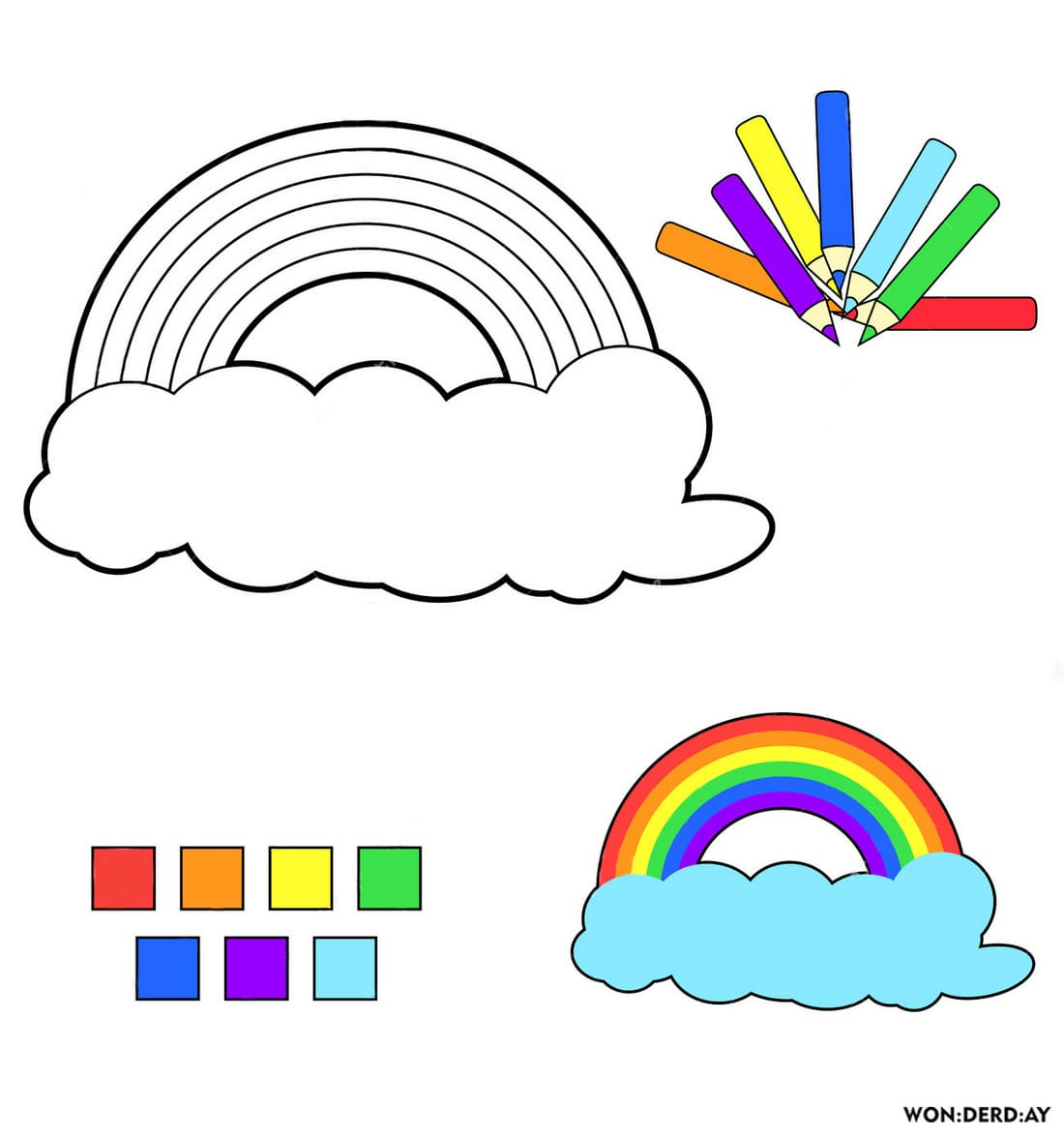 malvorlagen regenbogen am himmel | kinder ausmalbilder