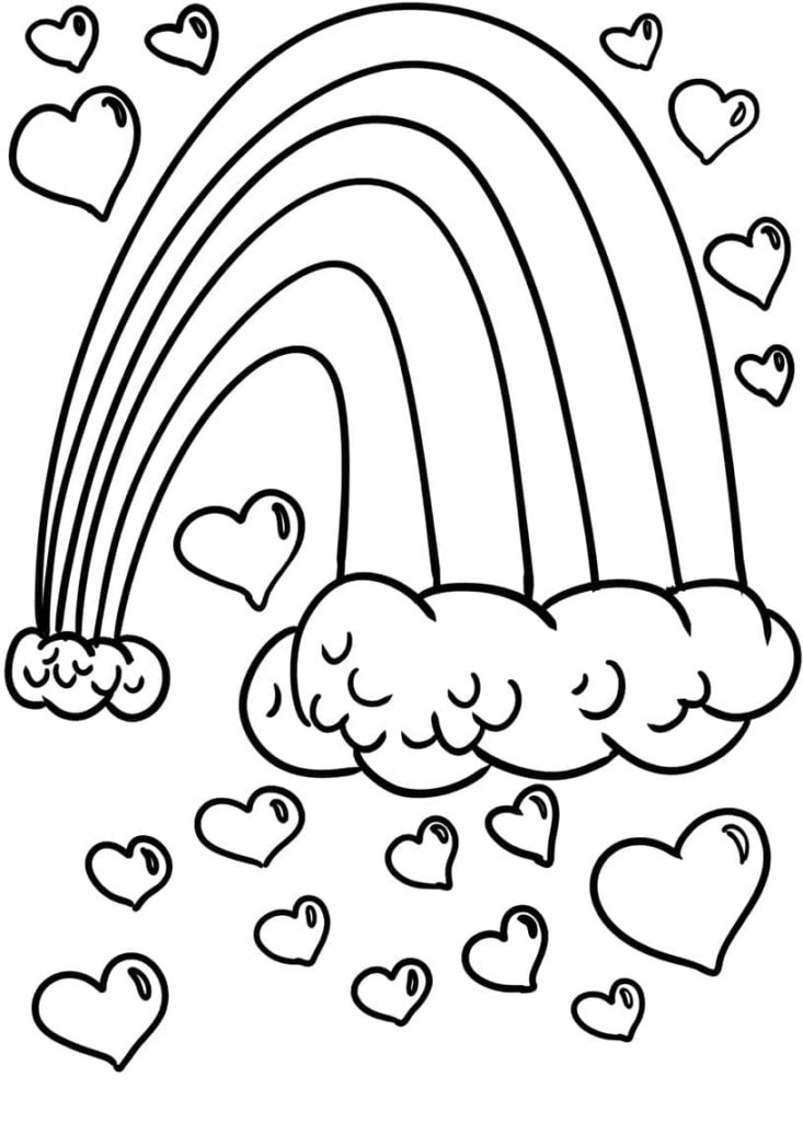 Coloring Pages Rainbow. Pony on the Rainbow. Print for Kids