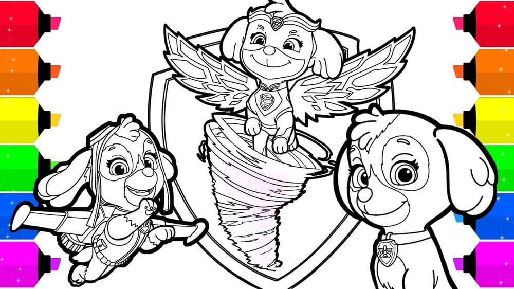 PAW Patrol Coloring Pages. Mighty pups. Print A4 | WONDER DAY