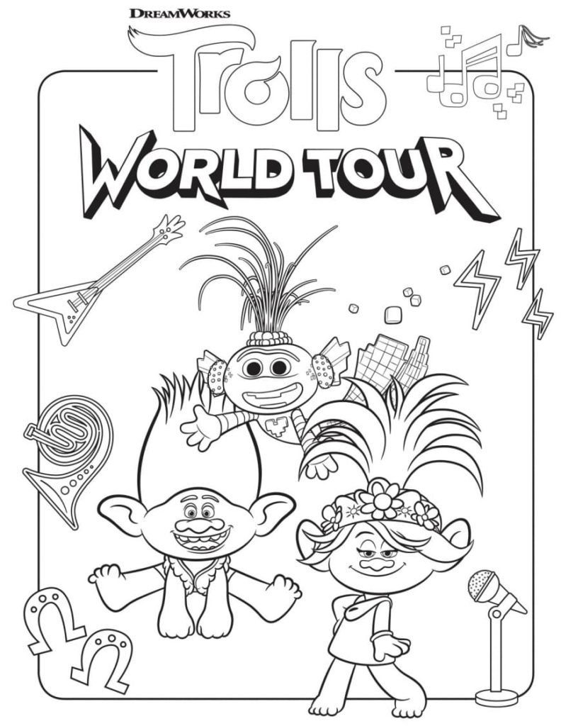 Coloriage Les Trolls Tour du monde (World Trolls Tour)