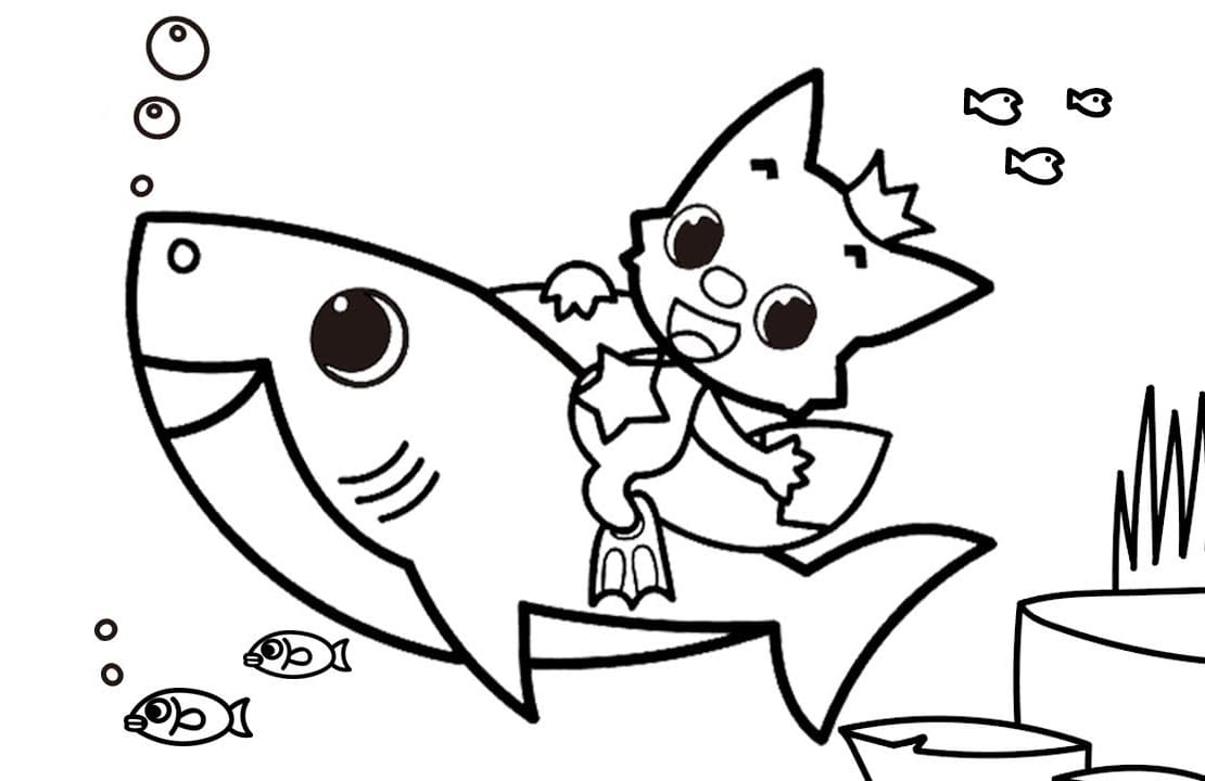 Baby Shark and Pinkfong Coloring Pages. Print Free