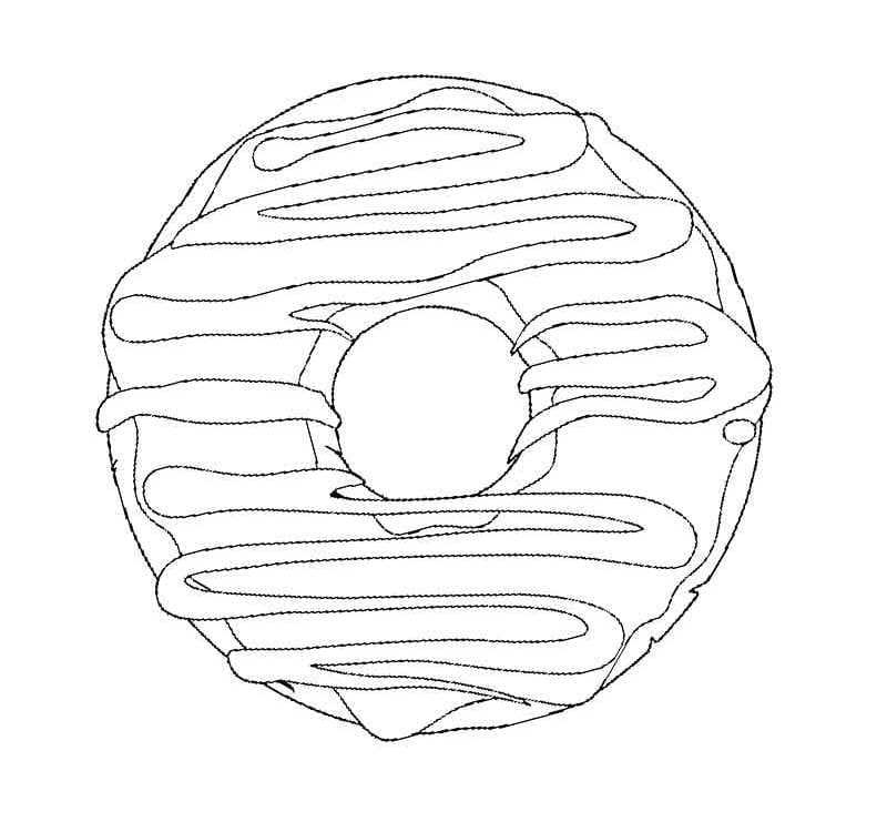 Ausmalbilder Donut. Drucke kostenlos im A4 Format