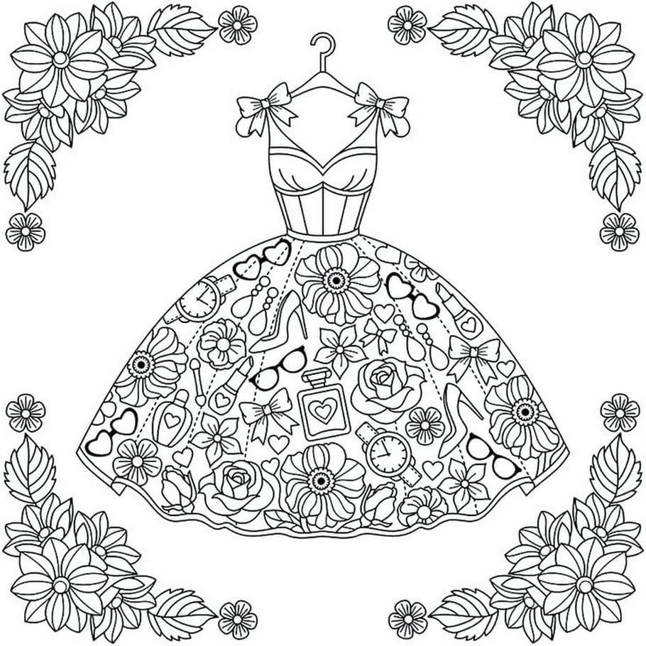 Ausmalbilder Kleid. 28 Malvorlagen zum Ausdrucken