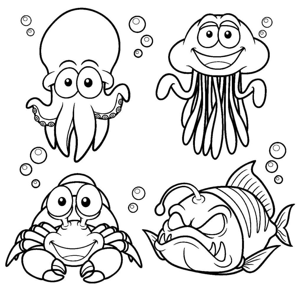 Kostenlose Ausmalbilder Unterwasserwelt — Meerestiere für Kinder