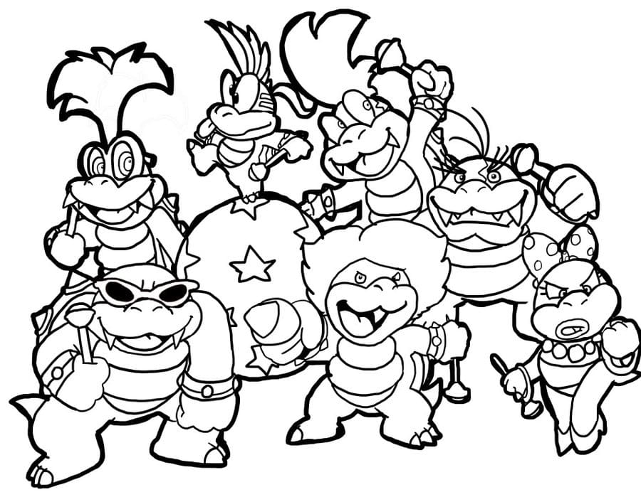 bowser mario and luigi coloring pages