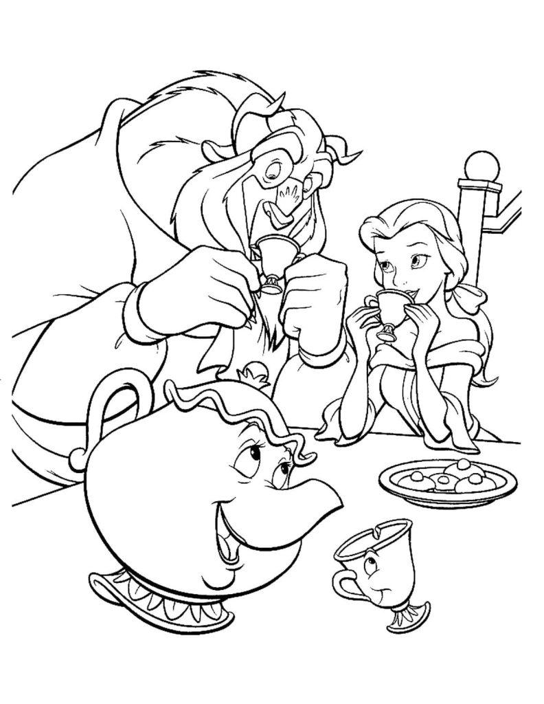 Coloring pages Beauty and the Beast. Print for free