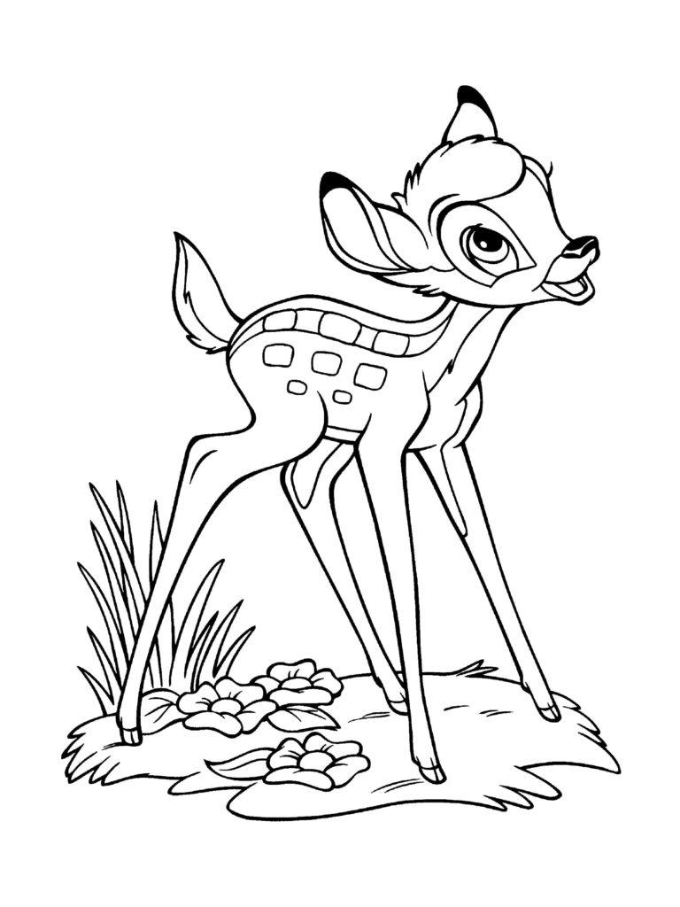 Ausmalbilder Bambi. Kostenlose Malvorlagen für Kinder