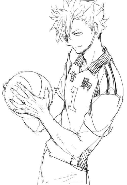 Раскраски из аниме Волейбол. Распечатайте бесплатно