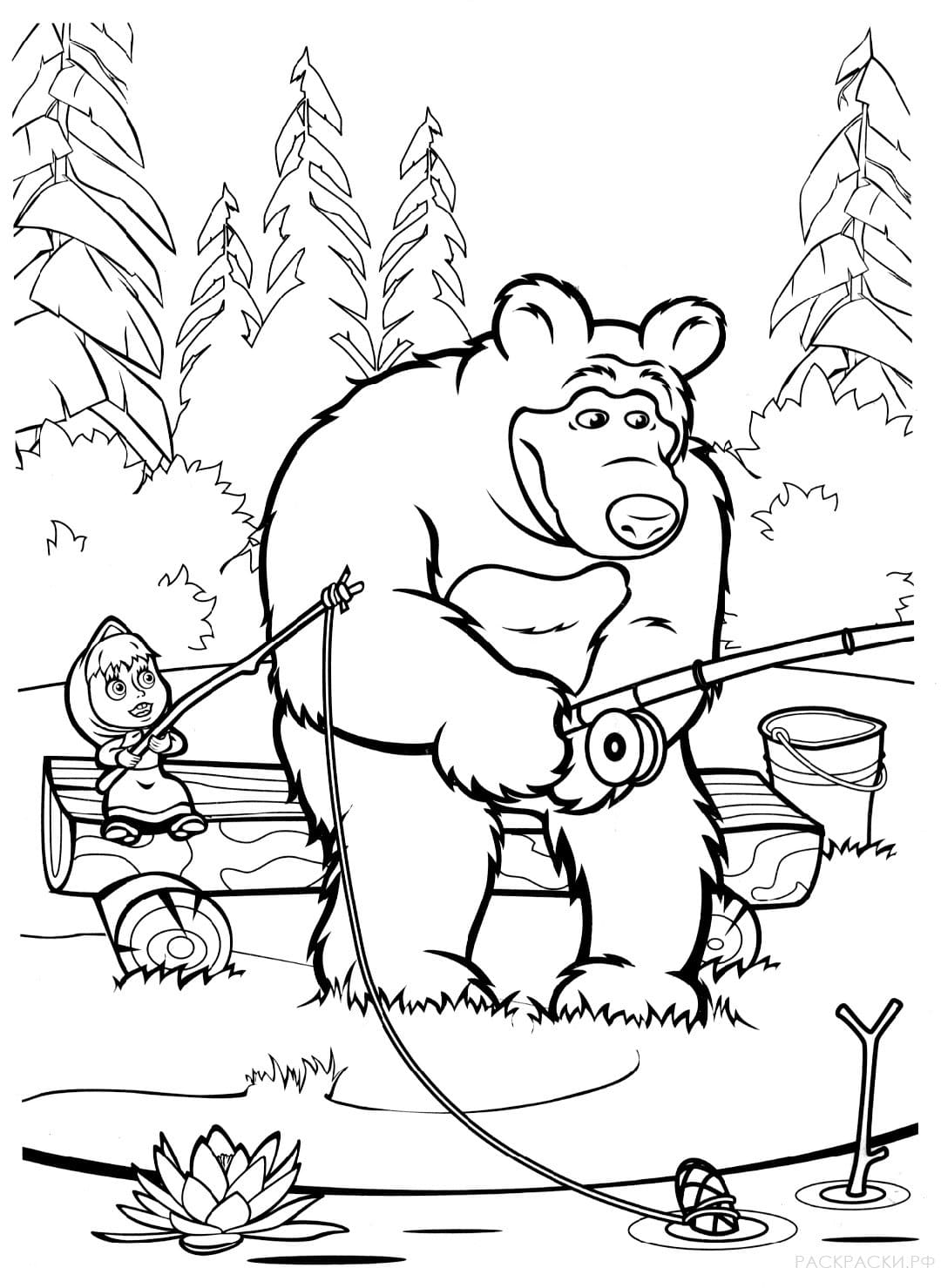 Masha and the Bear coloring pages (100) for Kids Printable
