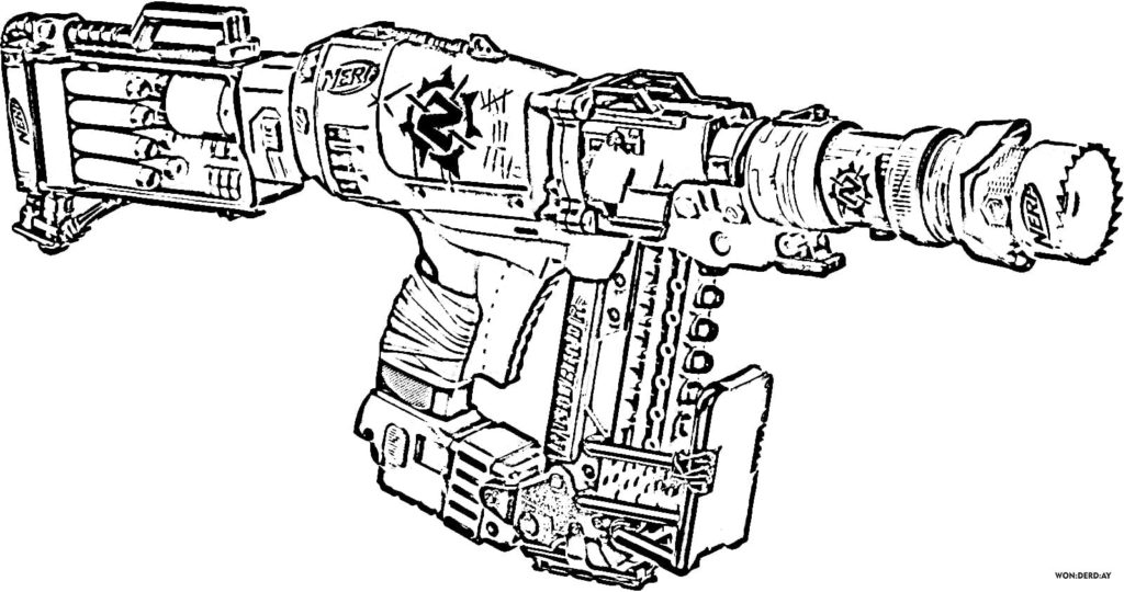 Nerf Guns coloring pages. Print for free