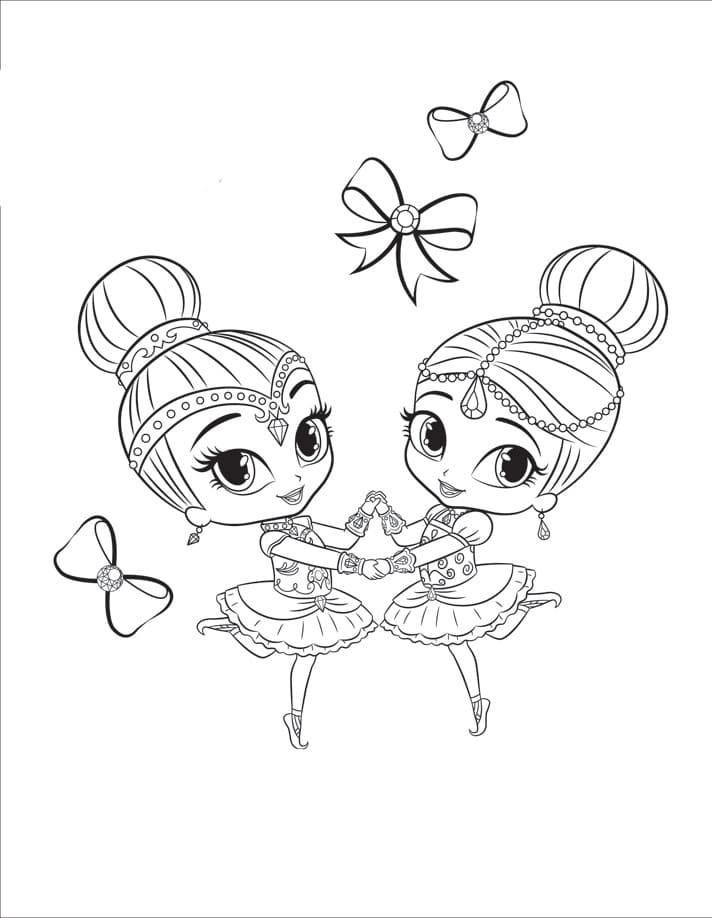 Shimmer and Shine Coloring Pages. Print for free. Best collection