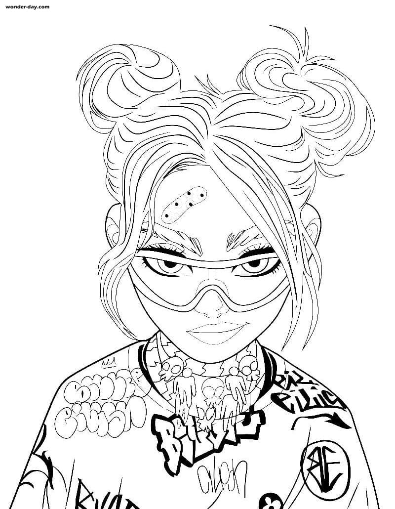 Coloring Pages Billie Eilish. Download or print for free