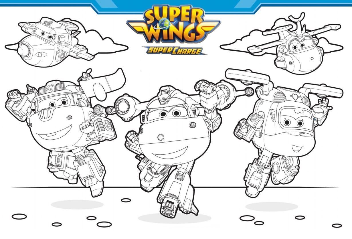 Super Wings Ausmalbilder. Drucken Sie für Kinder