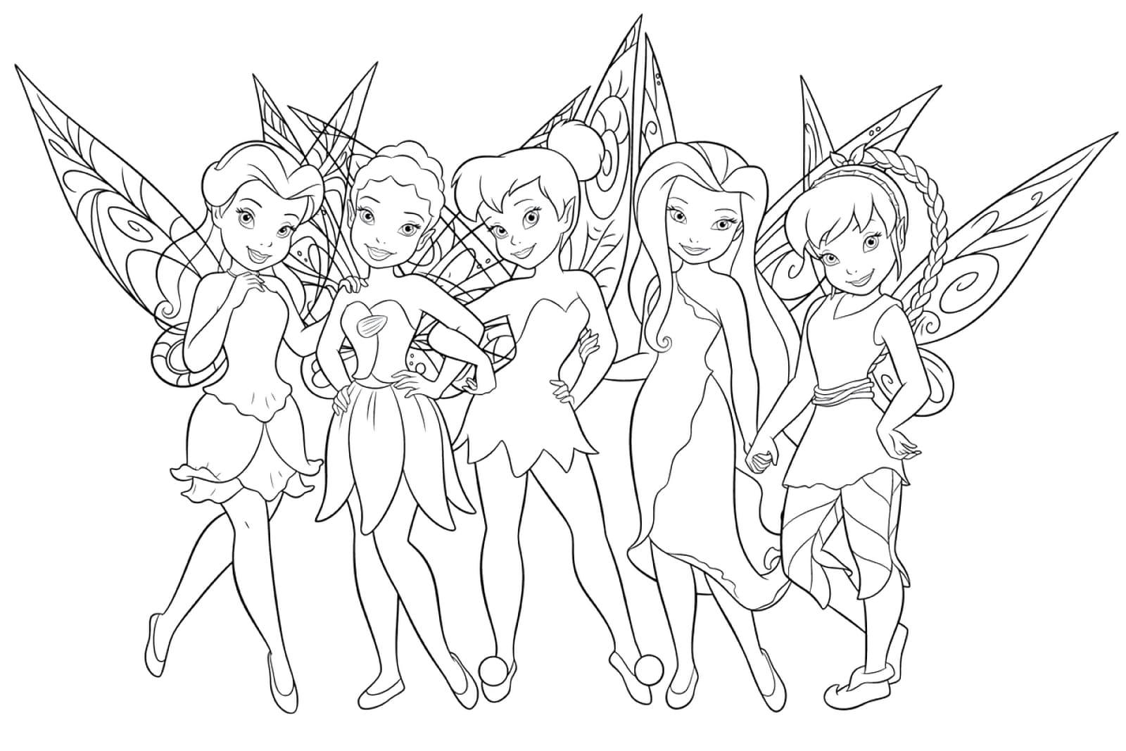 Ausmalbilder Tinkerbell. Disney Feen für Mädchen