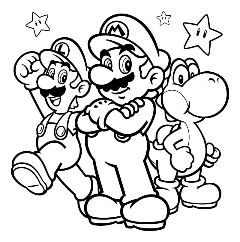 Раскраски Йоши. Распечатать персонажа из Марио
