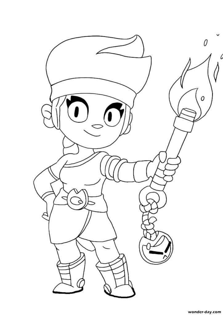 Amber Brawl Stars coloring pages. Print a new Brawler