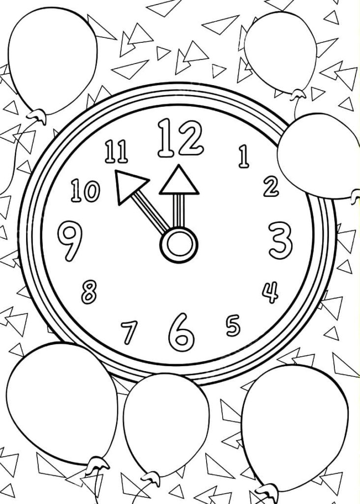 Happy New Year Coloring Pages. Print for free