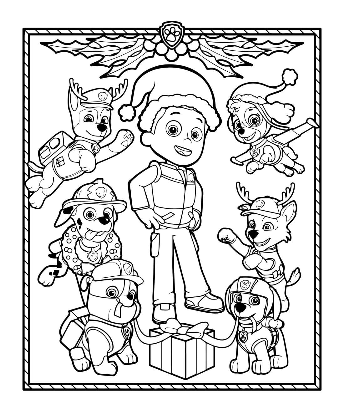 Christmas Coloring Pages Paw Patrol Print A4 Wonder Day