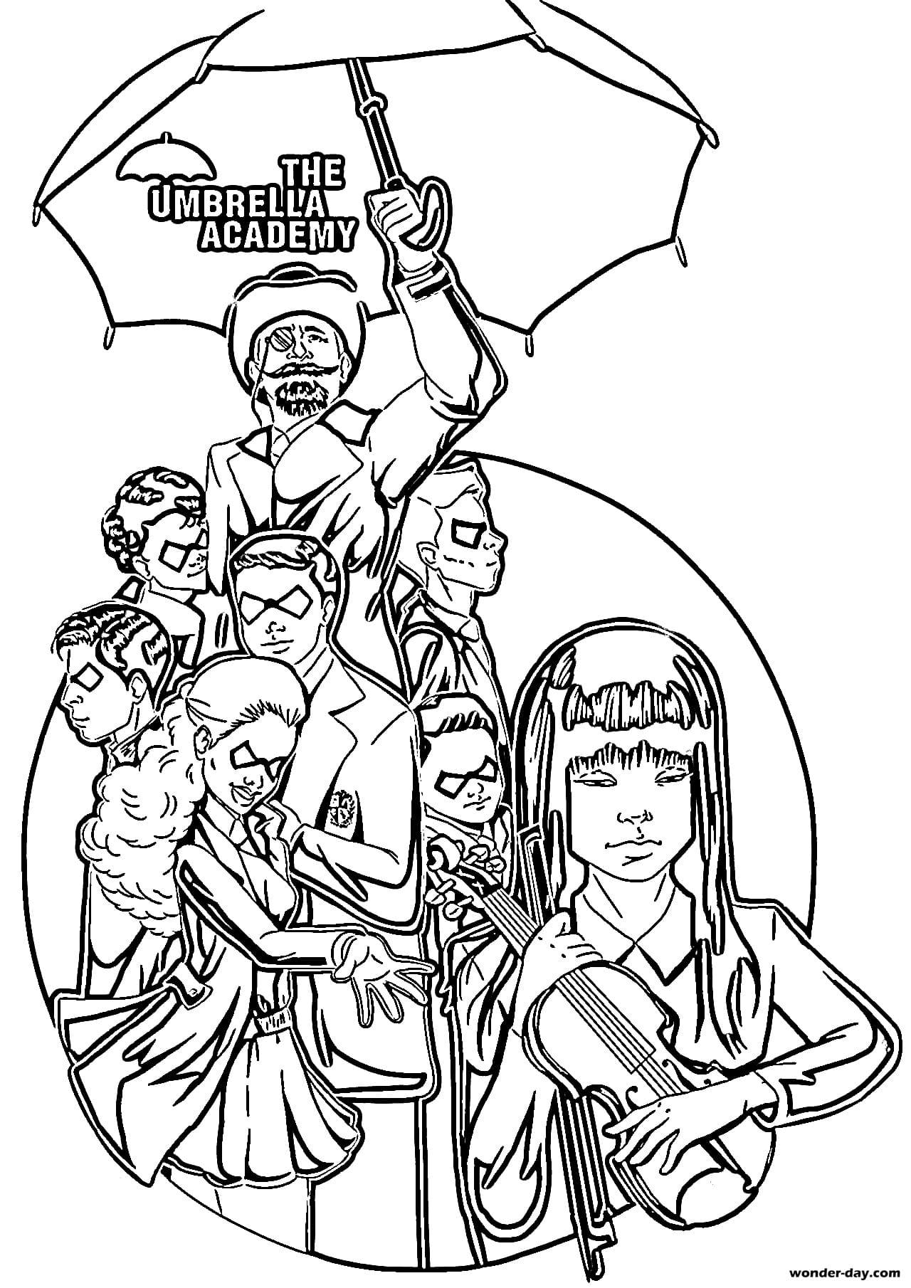 Ausmalbilder Umbrella Academy. Kostenlos drucken
