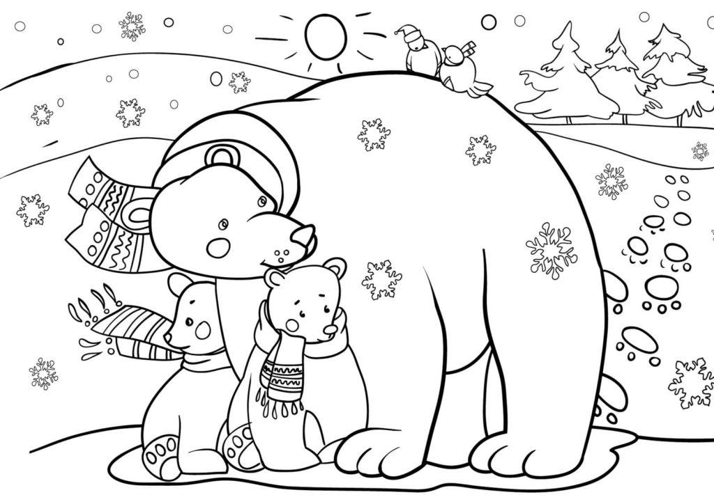 ausmalbilder winter für kinder im format a4 | wonder day