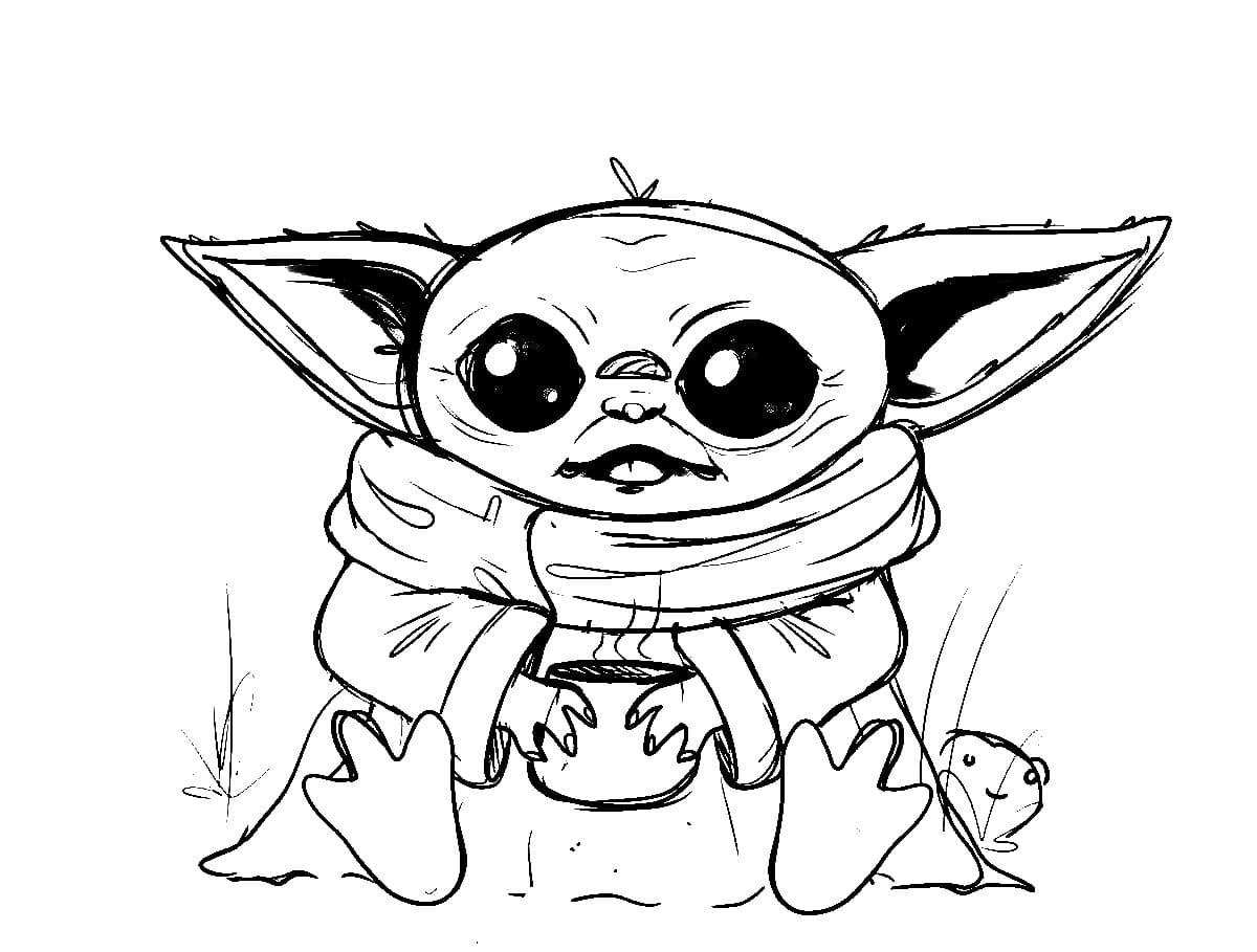 Dibujos de Baby Yoda para colorear. Imprime gratis