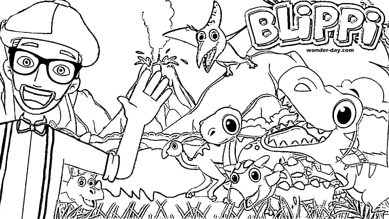 Free Printable Blippi Coloring Pages For Kids | WONDER DAY