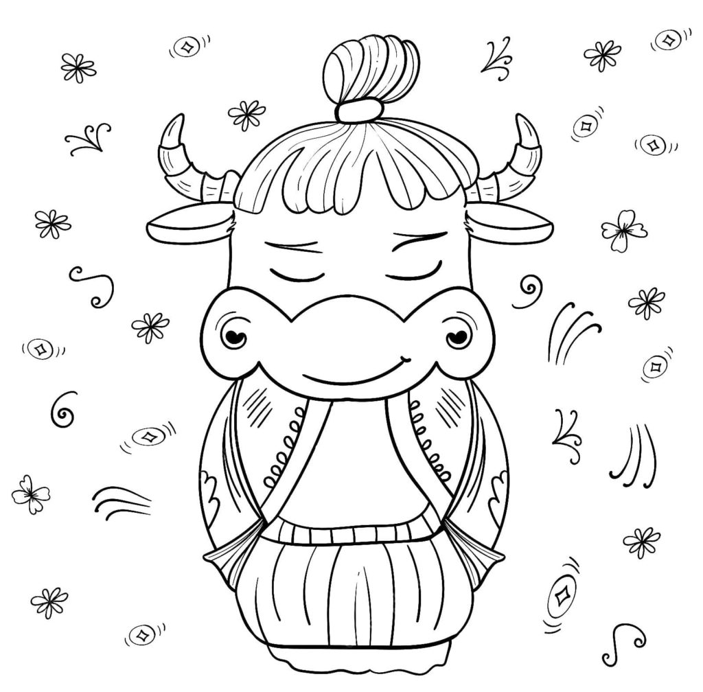 Ox Coloring Pages Print Ox New Year 2021 Wonder Day