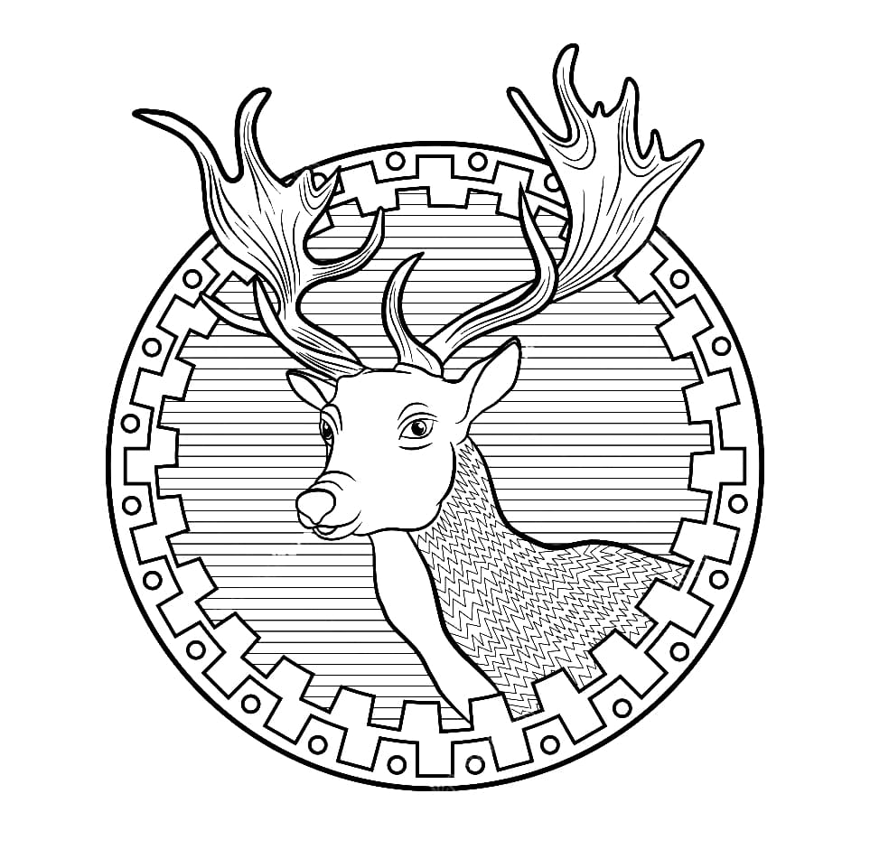 Christmas Reindeer Coloring Pages. Print in A4 format