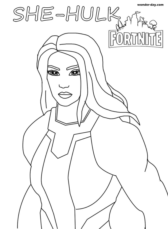 Ausmalbilder She-Hulk Fortnite  WONDER DAY — Ausmalbilder für