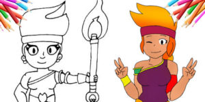 How to draw Amber Brawl Stars – step by step with a pencil