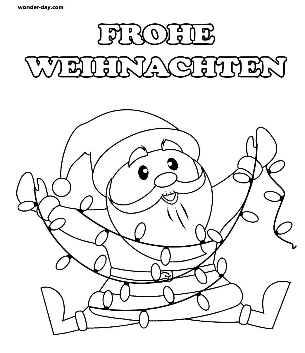 Ausmalbilder Weihnachtsmann. Kostenlos drucken