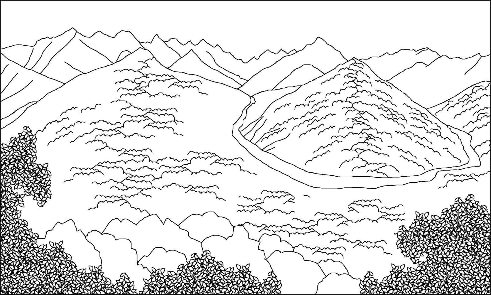 ausmalbilder natur  100 malvorlagen  landschaft berge meer