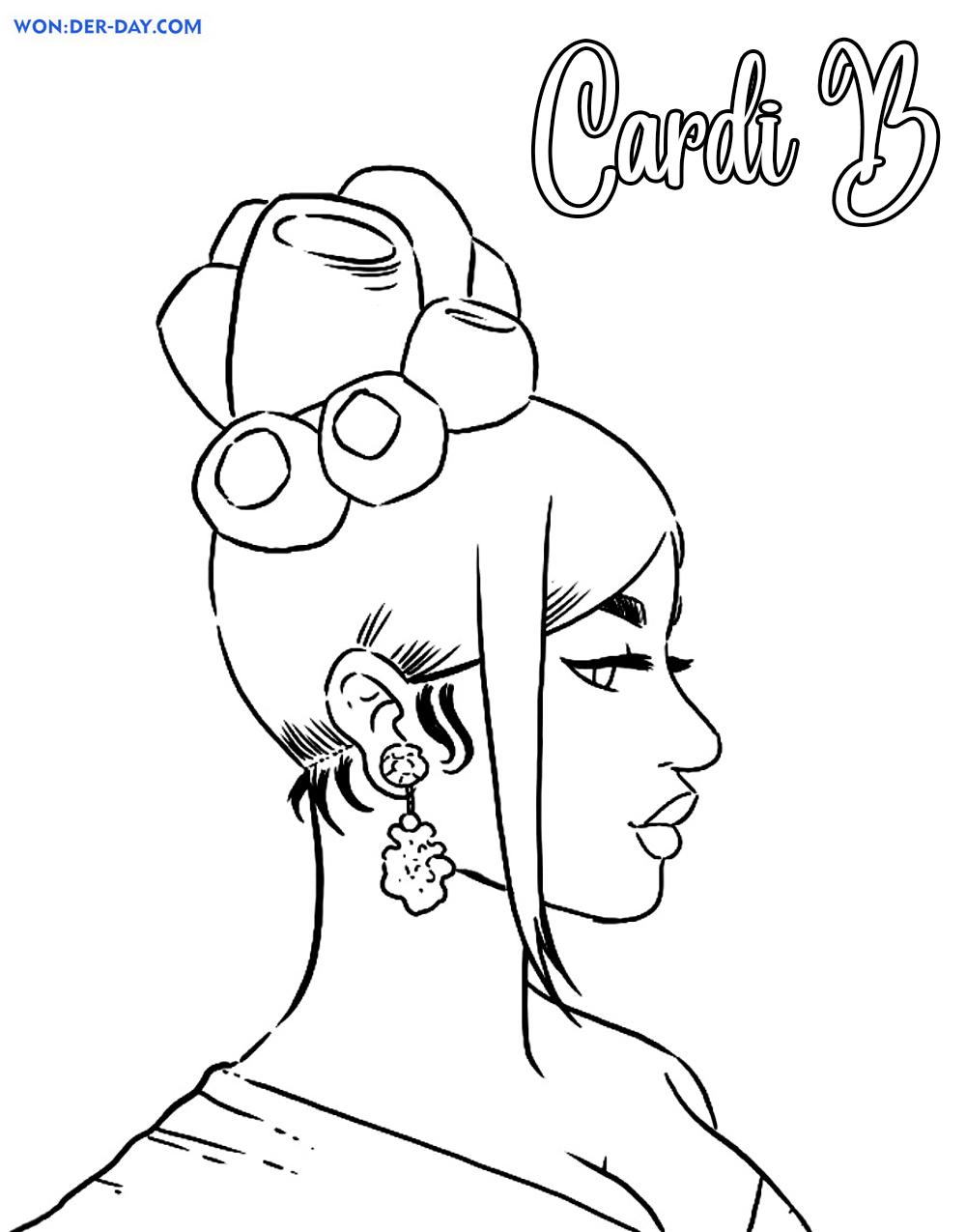 Dibujos de Cardi B para colorear - Wonder-day.com