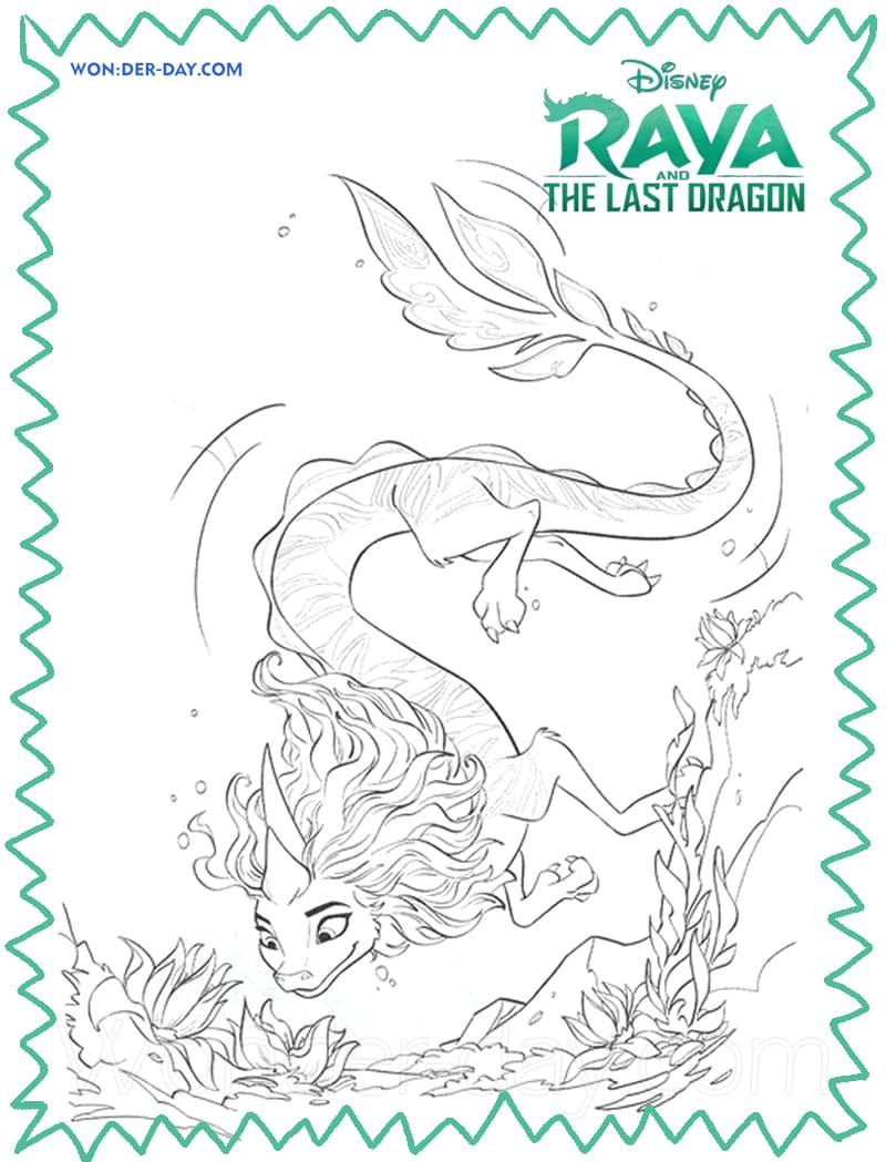 Ausmalbilder Raya und die letzten Drachen - Wonder-day.com