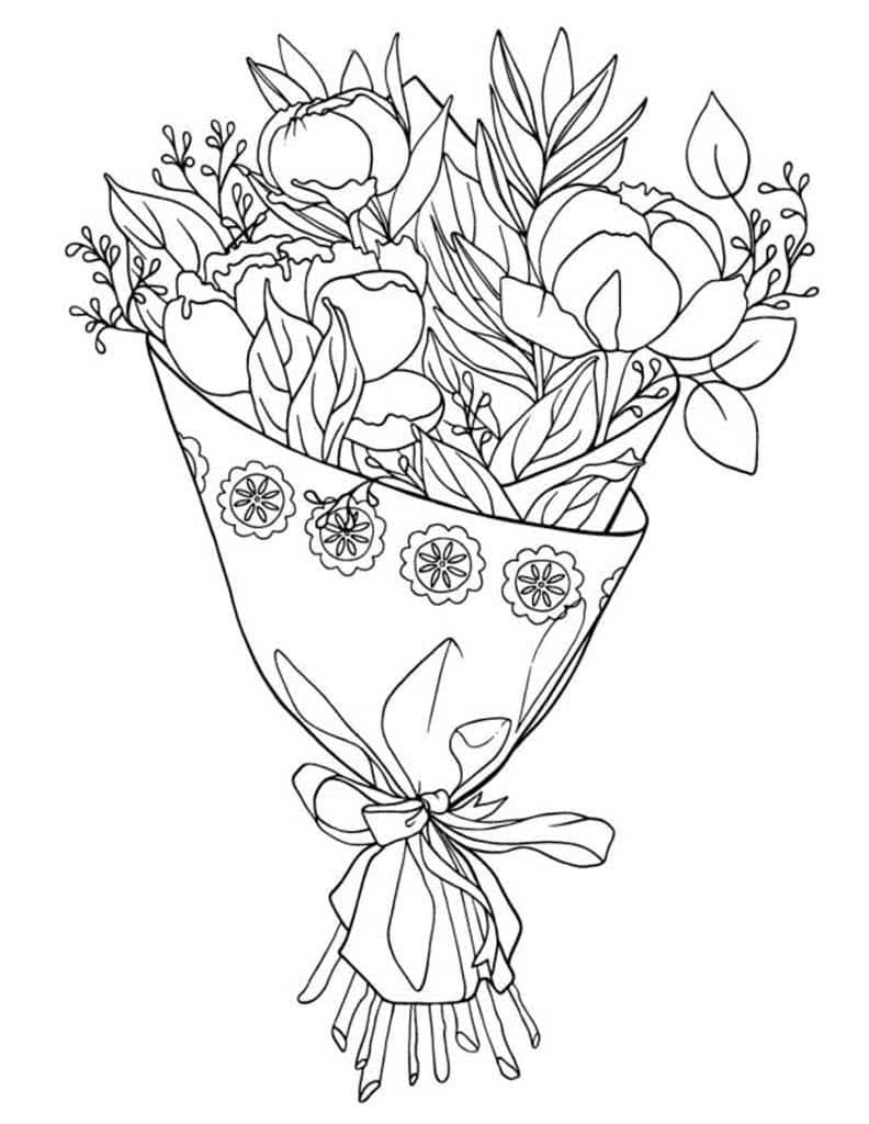 Ausmalbilder Blumenstrauß - Malvorlagen zum Ausdrucken