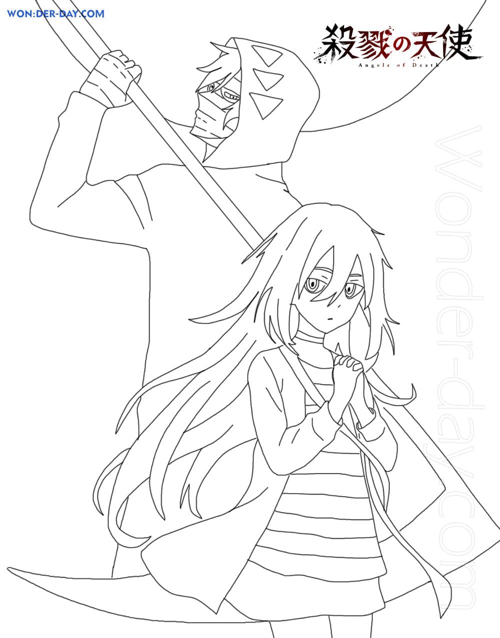 Ausmalbilder Satsuriku no Tenshi - Wonder-day.com