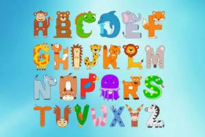 Ausmalbilder Englisches Alphabet mit Tieren