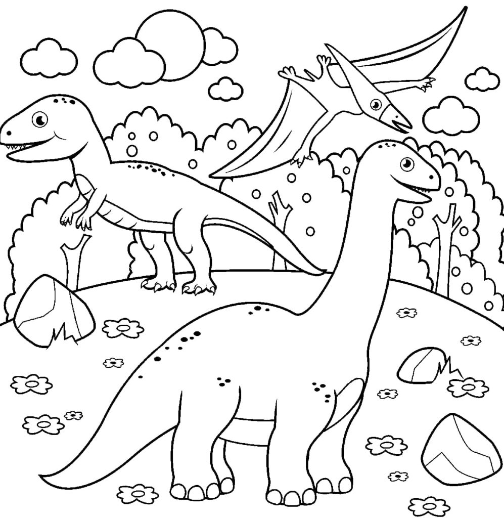 Ausmalbilder Dinosaurier  7 Kostenlose Malvorlagen