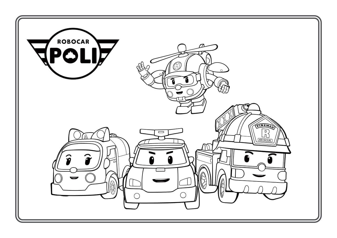 Ausmalbilder Robocar Poli  Malvorlagen für Kinder